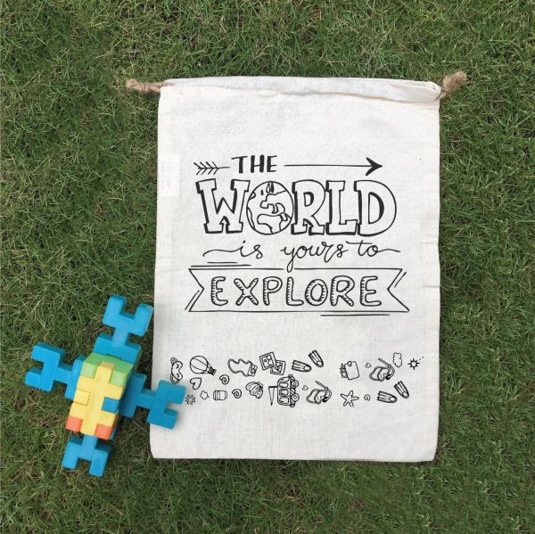 """World To Explore"" Cotton Goodie Bag - Set of 12"