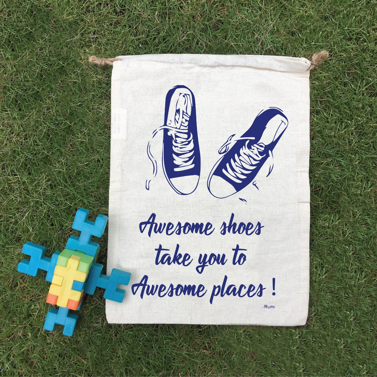 """Awesome Shoes"" Cotton Goodie Bag - Set of 12"