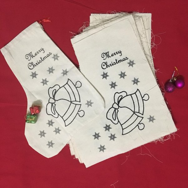 Christmas stockings bell print - Pack of 10