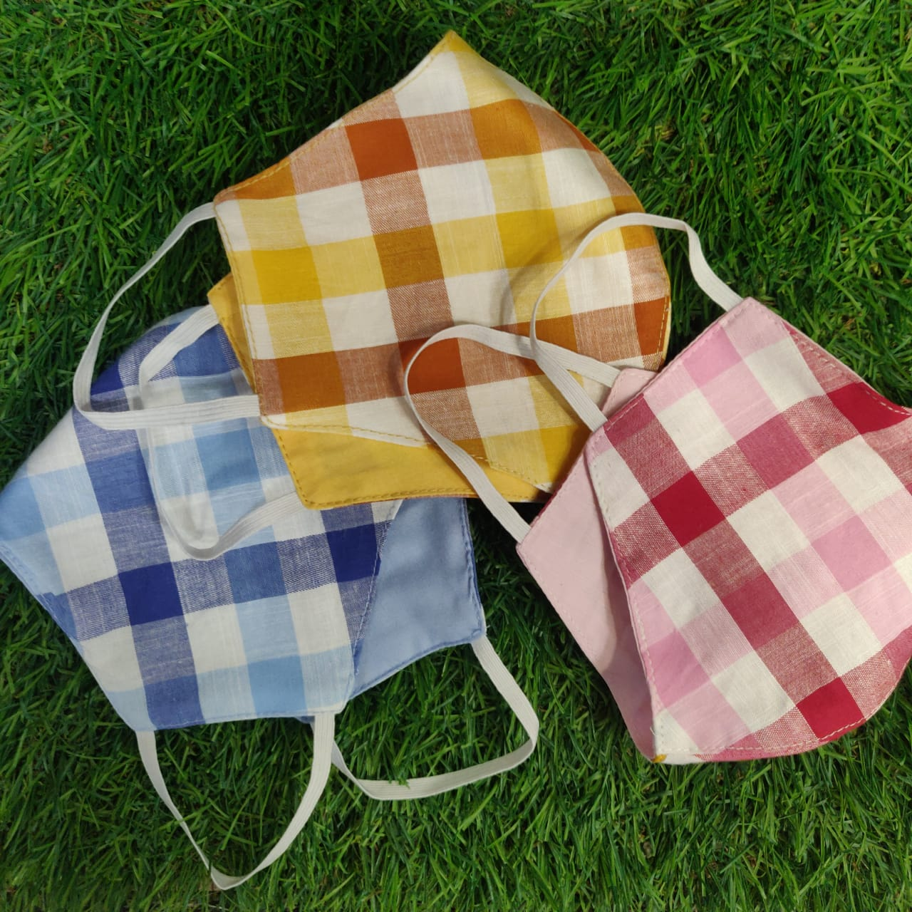 Sterilised 2 Layer Reusable Cotton Masks - Reversible Light Check Prints - Set of 6